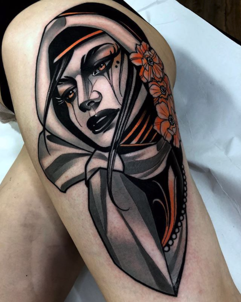 Lea H. Tattoo - Neotraditional Tattoo - Black Ship Tattoo BCN